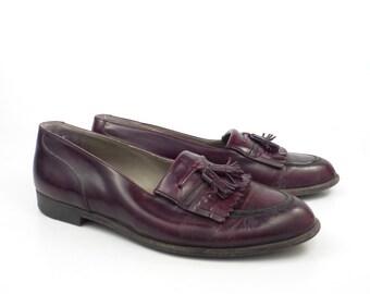 Bally Men's Shoes Loafers Burgundy Leather Vintage 1980s Tassel Size 8 1/2 D
