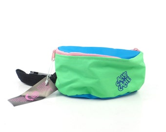 Fanny Pack Vintage 1980s Nylon Vegan Neon Waistpack Hip Pink Blue Green Bum Bag