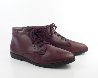 Granny Boots Vintage 1980s Danexx Burgundy Leather Lace Up  Women's size 6 M
