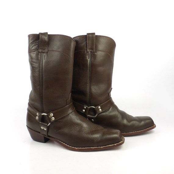 brown harness boots vintage 1980s brown leather