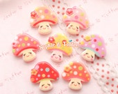 Kawaii Sweet Printed Face Mushroom Flatback Cabochon - 7pc | Resin Cabochon Decoden Supplies Jewelry Making Flatback Resin Cabochon