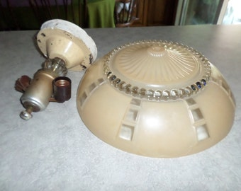 vintage hanging ceiling double light lamp fixture with frosted beige glass shade crystal ball and geometric squares