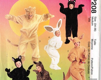 Bunny Rabbit Bear Cat Lion Kangaroo Adult Halloween Costume McCalls 8953 P208 Sewing Pattern Misses Mens Adult Size 34 36