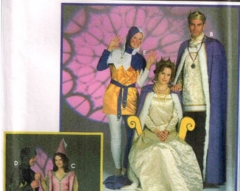 Medieval Queen King Court Jester Gown Hooded Cape Cloak Halloween Costume Simplicity 9229 Sewing Pattern Misses Mens  Size 30 32 34 36 38 40