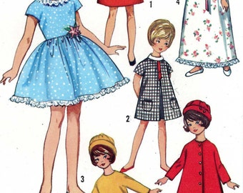 Penny Brite or Miss Cindy Doll Clothes PATTERNS 6207 for 8 inch dolls Party Dress Hat Coat Nightgown in PDF instant download