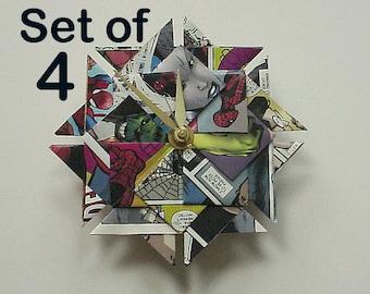 Set of Four Groomsmen Gifts, Superhero Groomsmen Gifts, 4 Origami Groomsmen Clocks, Great Groomsmen Gift Idea, Set of 4 Groomsmen Gifts