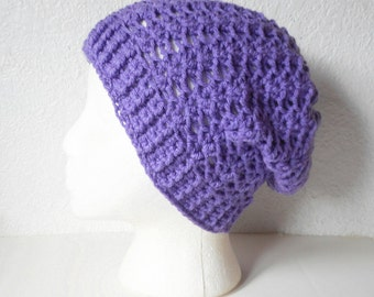 Lilac Slouchy Skullcap Beanie Hat, ready to ship.