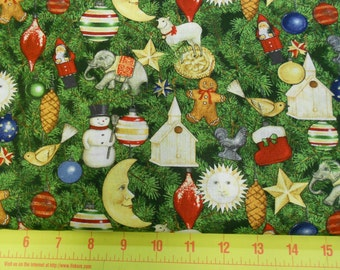 Christmas Fabric - 50% OFF! - Holiday Home Ornament Toss on Green by South Sea Imports - Yardage