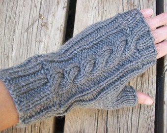 Acrylic Cable Knit Fingerless Gloves Grey
