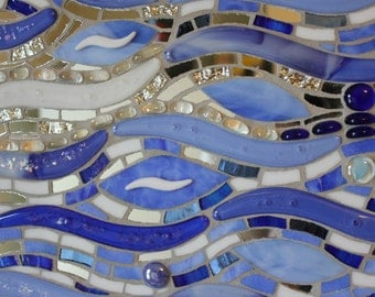 CLEARANCE SALE:  Glass Mosaic, Fused Glass, Waves, Water, Ocean, Beach, Blue, Sparkling