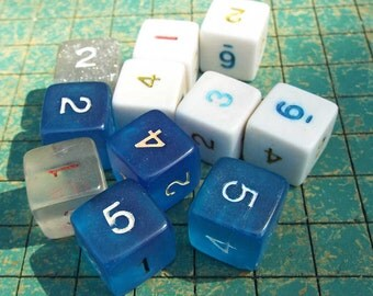 11 number dice, blue, white, clear, jewelry supply, upcycle, game pieces, reuse, recycle