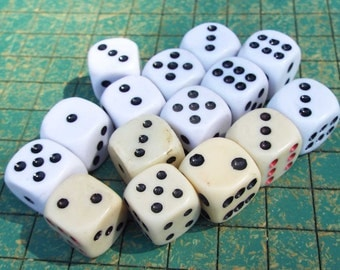 15 dice, jewelry supply, rounded corner, upcycle, game pieces, reuse, recycle