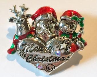 1980s Reindeer Santa Snowman Christmas Brooch