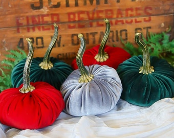 Scented Velvet Pumpkins, SET of 5: Christmas Assortment