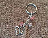Beaded butterfly keychain