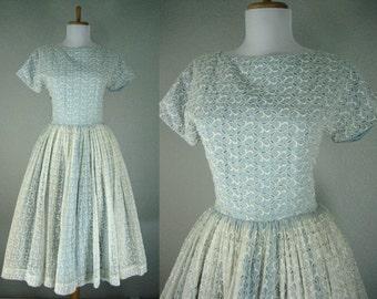 Vintage 1940s Dress Eyelet Prom Party Blue White Dance Dress