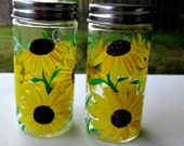 Salt and Pepper Shakers, Hand Painted Sunflowers, Set of 2 Painted Glass Shakers