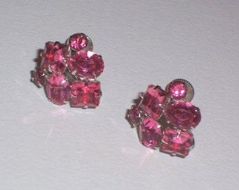 Vintage Pink Rhinestone Earrings - Screw Backs