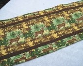 Quilted  table runner Fall leaves  cabin decor deer in the woods Quiltsy handmade