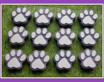 PAW PRiNT SOAP 10 PARTY FAVoRS - Veterinarian - Vet Tech - Animal Rescue Shelter - Pet Birthday Party Packed & Tags - Unique - Handmade