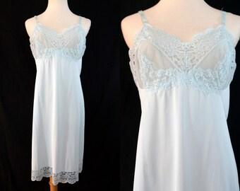 1960s Baby Blue Slip Dress Full Slip Lace Vassarette Negligee Nightie Small Medium