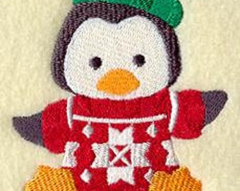 Polly Penguin in Christmas Sweater Embroidered Flour Sack / Hand / Bath Towel / Christmas Stocking