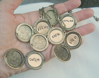 Bridesmaid Locket Personalized Lockets Round Brass Locket For Mom Personalized Jewelry Hand Stamped Locket Jewelry