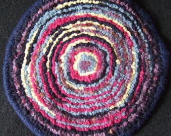 Multi Coloured Teapot/Mug Rug Hand Hooked Wool Strips on Brin Burlap Round Coaster Newfoundland