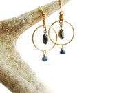 Gold plated Hoops, Sapphire Crystal, September Birthstone, Greenish blue drop, Dangle Earrings, Circle
