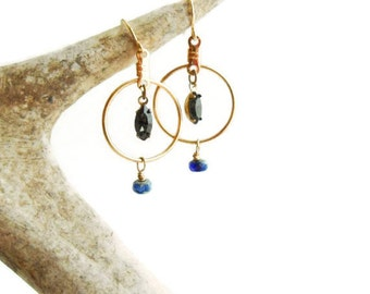 Gold plated Hoops, Sapphire Crystal, September Birthstone, Greenish blue drop, Dangle Earrings, Circle, Bridesmaid
