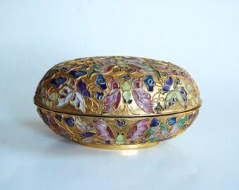 Vintage Enamel Cloisonne Egg with Butterfly Design