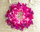 Pink purple fuchsia flower sequin hand-embroidered Mexican straw basket
