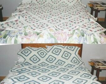 2 in 1 Crochet Granny Afghan Pattern Original Design Contrasting Colors Reversible Design Needlework Instand PDF Download Crafts Home Decor