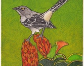 RESERVED FOR Marcelle - Mockingbird Art, Animal Print, Northern Mockingbird, Original Collograph - Dive Bomber 9