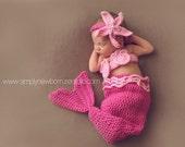 On Sale Pink Mermaid Baby Costume, Baby Girl Mermaid Photo Prop, 6-9 Month Baby Girl Cocoon