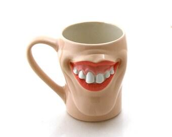 Funny mug with lips and big teeth, face mug, big mouth mug, funny gift, novelty and gag gifts, pottery and ceramic
