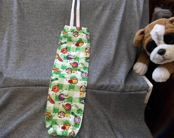Plastic Bag Holder Sock, BBQ Picnic Print, Small