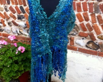 Hand Woven Shawl in Blues and Greens