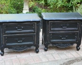 French Chic Cottage Black Matching Nightstands
