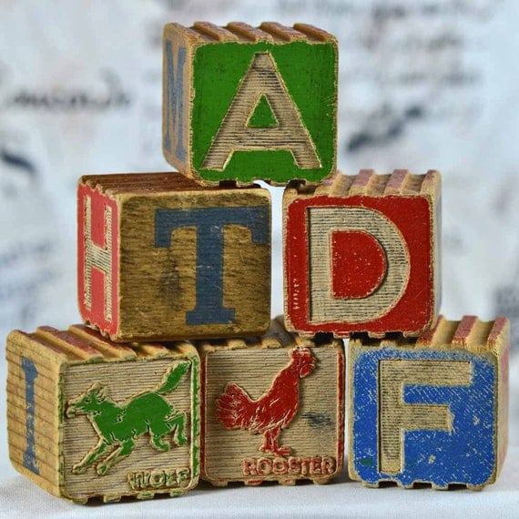Antique Alphabet Blocks... Nostalgia... Home Decor