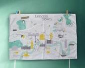 London Map Tea Towel, Large Cotton Dish Cloth