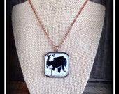 Black Baldy Show Steer Pendant With Necklace Chain