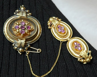 Antique Victorian Brooches, Custom-Made, Pink Tourmaline, 14K & Rolled Gold, Velvet-Lined Leather Case, London, Excellent Antique Condition