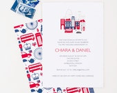 UK, London Bridal Shower Invitation, Union Jack, City of London, Red and Blue, Wedding Invitation