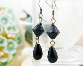 Night tinkle earrings - glass beads