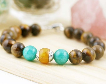 Wealth and vitality (unisex) bracelet- Tiger eye, quartzite and amber resin