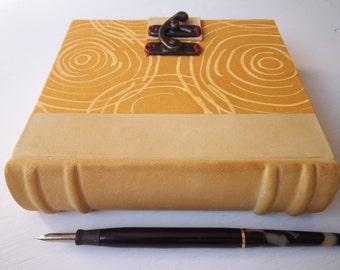 Heirloom Journal with goatskin spine, multimedia paper, Archival European Quarter Bound Blank Book