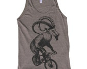 Unisex Tank Top - Goat on a Bicycle - American Apparel