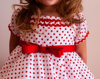 Girl dress shirley temple wedding birthday tutu skirt red white polka dot