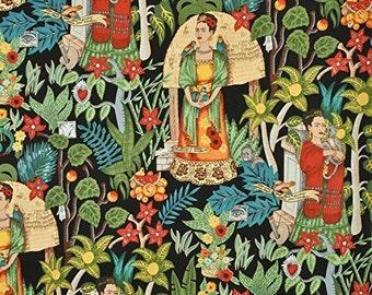 Frida's Garden- Black Background Alexander Henry Fabrics Cotton- By the Yard